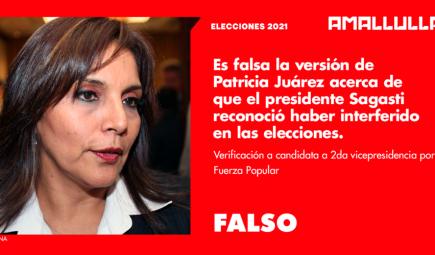 Es falsa versión de Patricia Juárez acerca de gestión que hizo presidente Sagasti