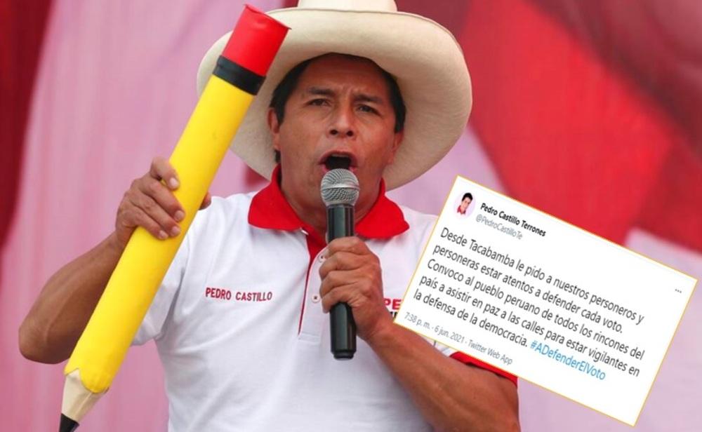 Pedro Castillo: Convoco a asistir en paz a calles para estar vigilantes de la democracia