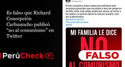 "Es falso que Richard Concepción Carhuancho publicó tuit ""no al comunismo"""