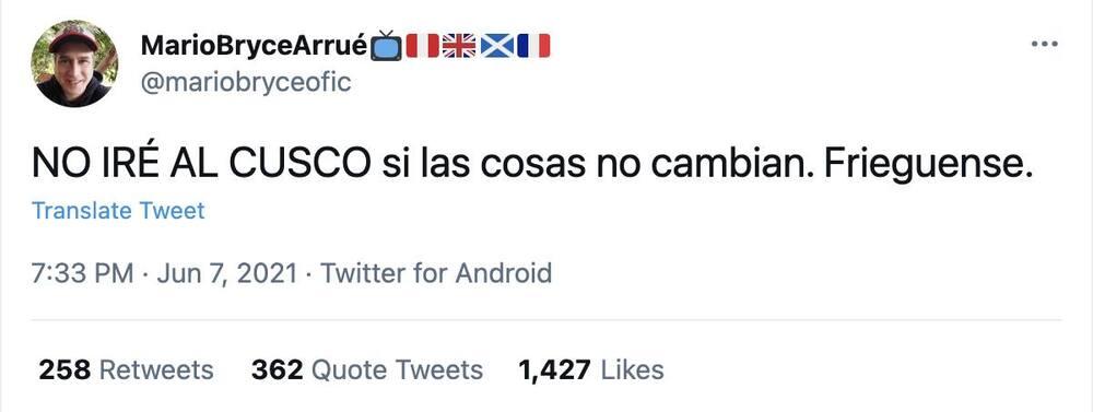 Campaña Cusco ya fue, por votación a favor de Pedro Castillo.