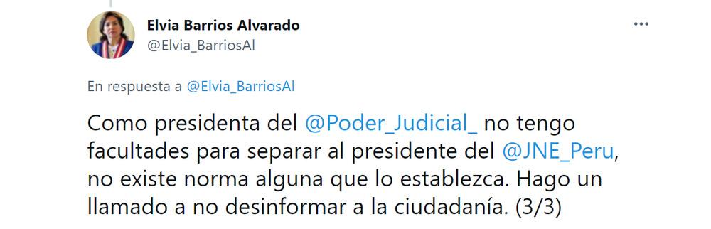 Tweet de Elvia Barrios Alvarado aclarando la situación