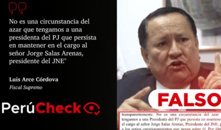 Es falso que presidenta del PJ pueda sacar al titular del JNE, como sugiere Luis Arce