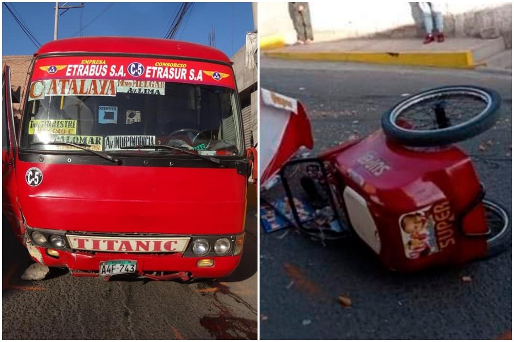 Arequipa: cúster que atropelló a heladero registra un récord de 26 papeletas
