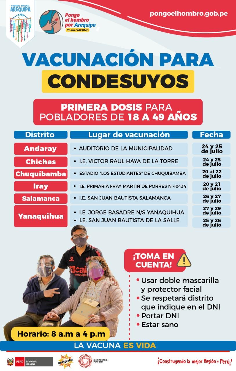 Vacunación de adultos mayores de 18 años en Condesuyos Arequipa