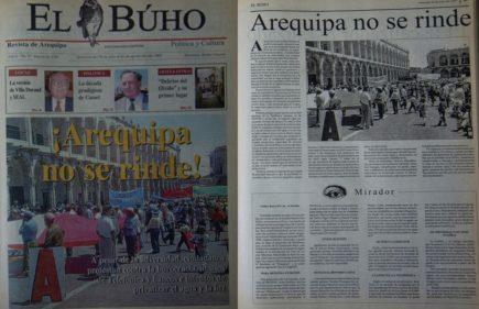 #Hace20Años ¡Arequipa no se rinde!: a pesar de adversidad, ciudadanos protestan contra Telefónica, bancos y burocracia