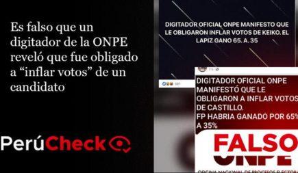 """Es falso que digitador ONPE reveló que fue obligado a """"inflar votos"""" de candidato"""