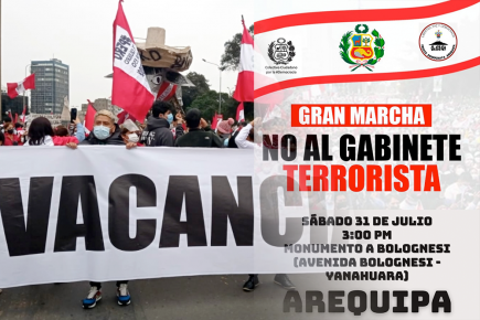 """Arequipa: ciudadanos participaron de """"Marcha contra la dictadura comunista"""""""