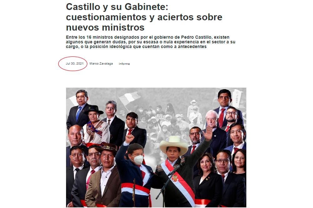 El origen de imagen del gabinete sin Francke ni Torres, publicada por premier Guido Bellido
