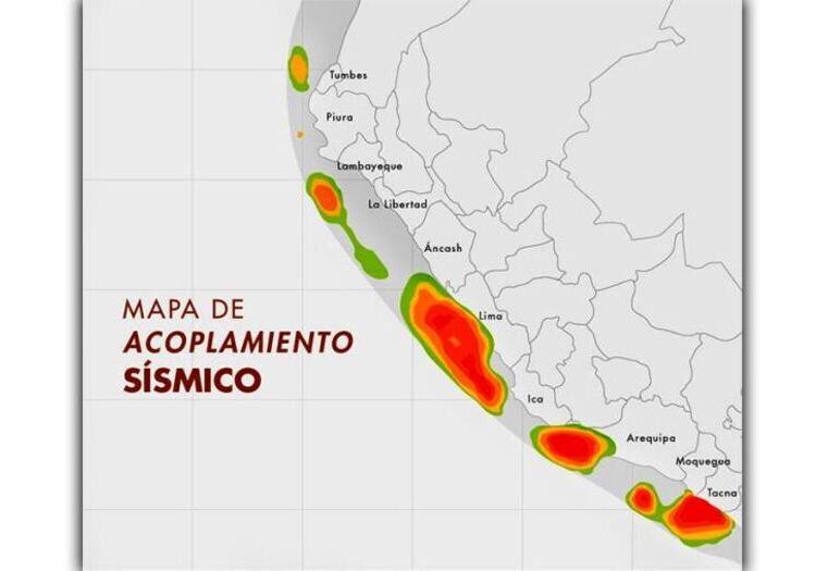 IGP advierte sismo de gran magnitud en Arequipa, según mapa de acoplamiento