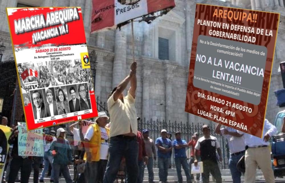 Arequipa: anuncian dos marchas, a favor y en contra de la vacancia de Pedro Castillo.