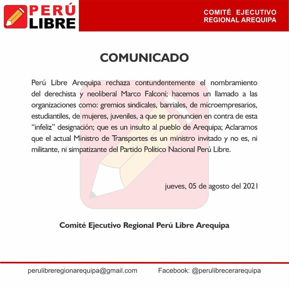 """Perú Libre Arequipa rechaza elección de """"neoliberal"""" Marco Falconí en Ministerio de Transportes."""