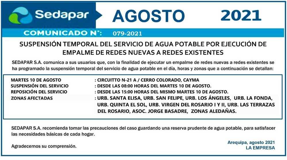 Corte de agua en Arequipa.