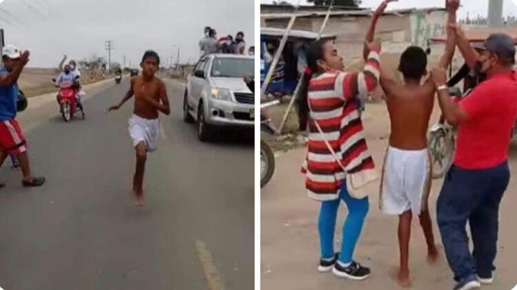Deportista de 13 años que corrió descalzo, gana maratón de 6 km en Tumbes