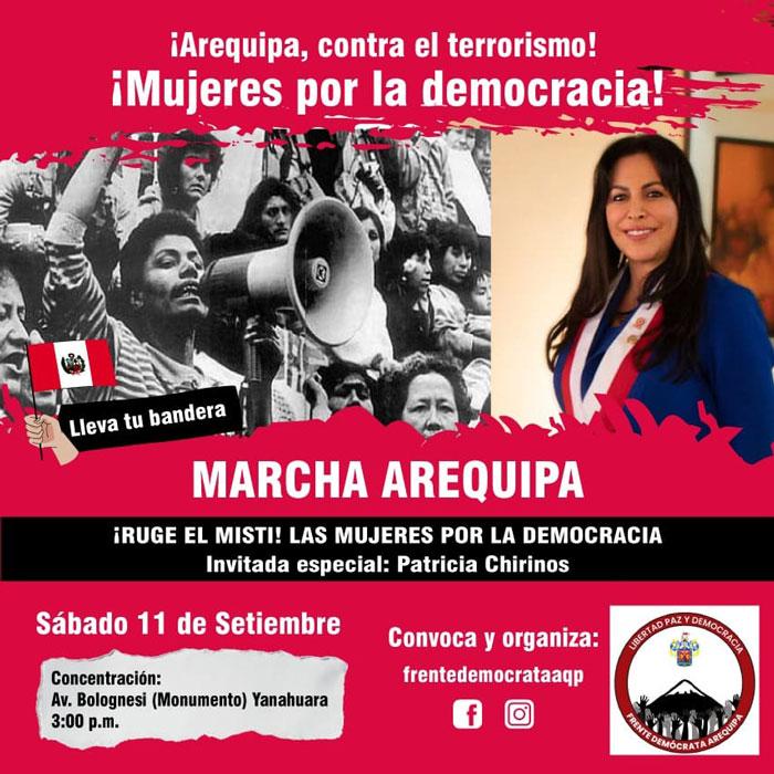 Arequipa: Patricia Chirinos protagonizará dos marchas este sábado