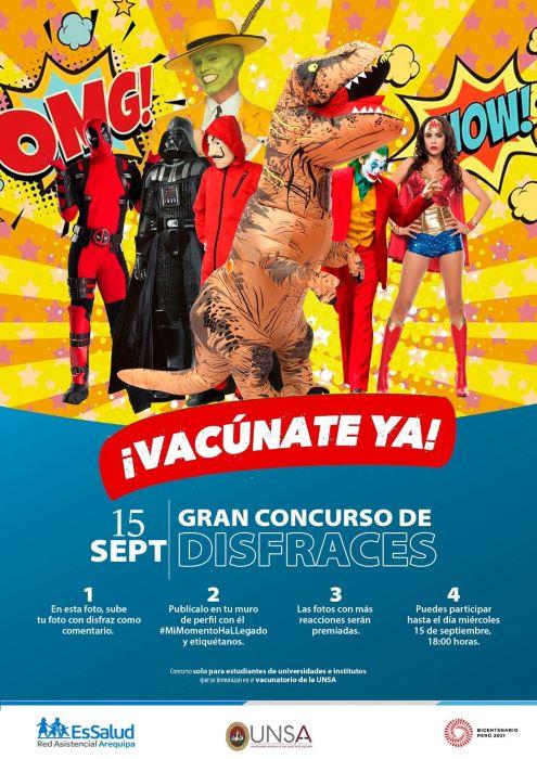 Arequipa: Jóvenes que se vacunen con algún disfraz serán premiados