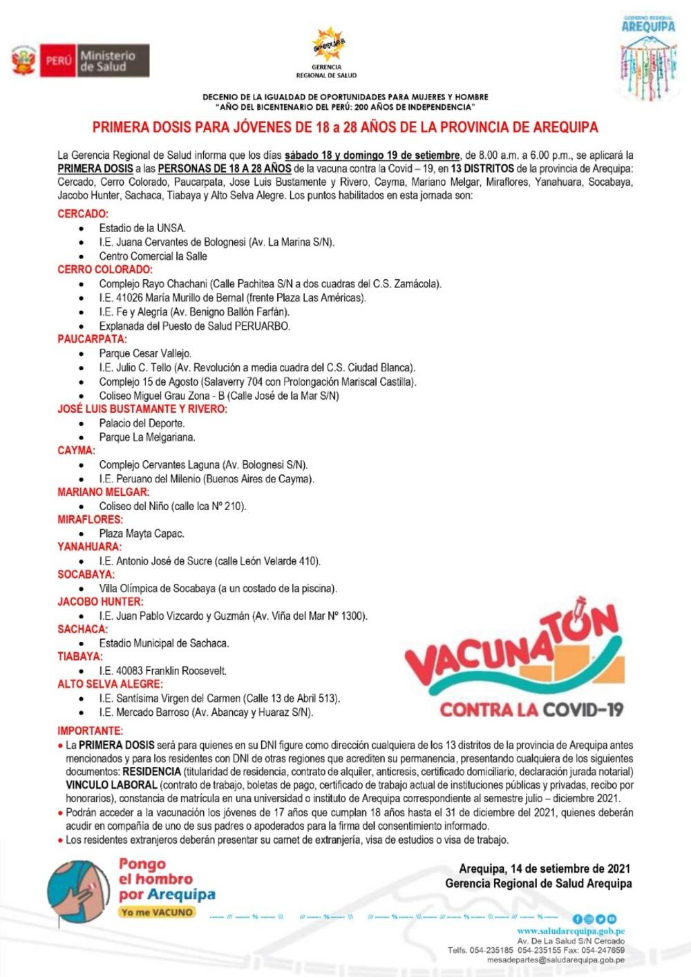Arequipa: sábado 18 y domingo 19 se vacunarán jóvenes de 18 a 28 años, aquí detalles