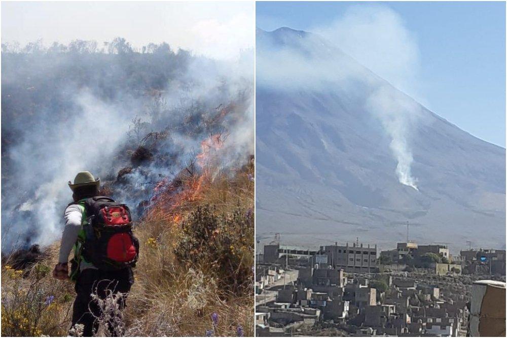 Arequipa: Incendio en el volcán Misti alcanza zona de queñuales