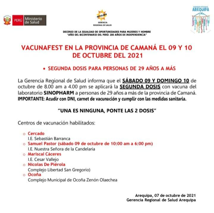 Arequipa: vacunación en Camaná