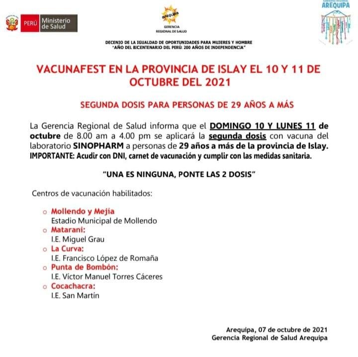 Arequipa: vacunación en Islay segunda dosis