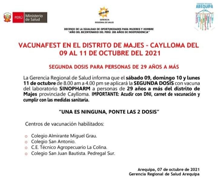 Arequipa: vacunación en Majes - segunda dosis