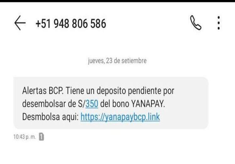 Perú: conoce cómo reconocer las estafas cibernéticas en mensaje de texto