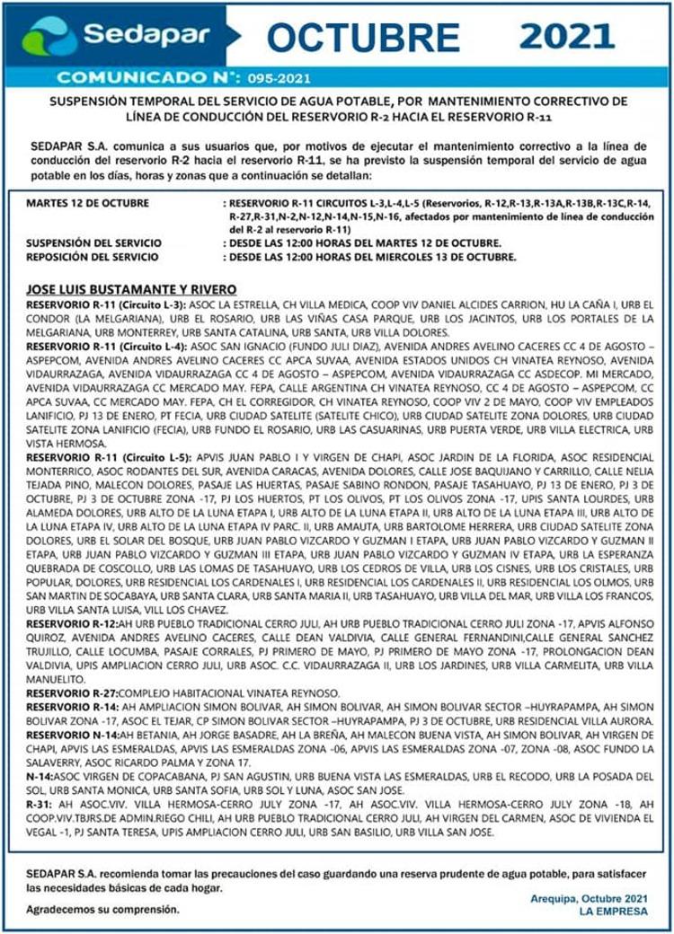 Arequipa: conoce los 3 distritos afectados por corte de agua, para este martes 12 sedapar
